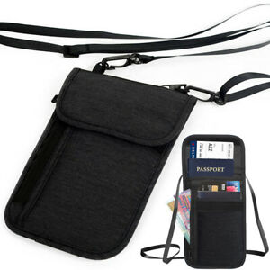 RFID Neck Pouch Passport Blocking Card Holder Travel Security Wallet Bag Stash
