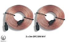 Pair of 3 metre Bang & Olufsen 2 pin DIN Oxygen Free Speaker Cables