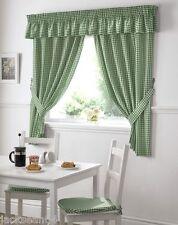 vert à carreaux vichy blanc rideaux cuisine W46 x L42 & PELMET w132 L10