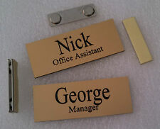 """Custom Name Tags Gold -Black letters  w/ magnetic badge attachment 1.25"""" x 3.25"""""""