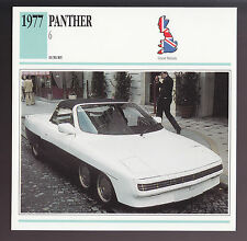 1977 Panther 6 Six-Wheel British Car Photo Spec Sheet Info ATLAS CARD