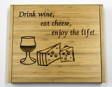 Soiree Cheese Board Set Personalized Gift. Drink Wine, Eat Cheese,Enjoy the Life