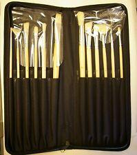 Art Advantage 12 Piece White Bristle Brush Set with Zip Case