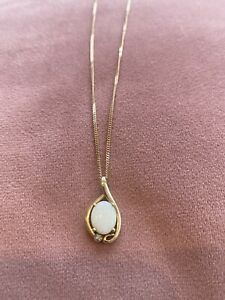 """18ct Gold, Diamond And Opal Necklace 22"""""""