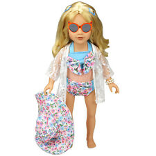 1 Set Bowknot Swimsuit Hat Sun Protective Shirt for 18 Inch Doll TOY Tackle