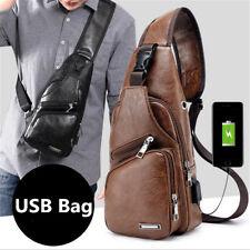 Men Leather Business Shoulder Chest Sling Bag Travel Day Pack USB Charging Port