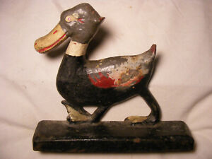 >> Whimsical Duck , uncommon Doorstop , not original paint , Cast Iron ,