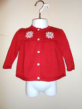 American Living Infant Girls Snowflake Cardigan Sweater Red 9M NWT