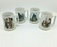 Norman Rockwell Museum 1985 Set of 4 Nautical Theme Coffee Mug Cup Gold Trim