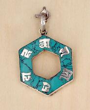 El tíbet om mani padme hum-remolque de metal en forma angulares-turquesa