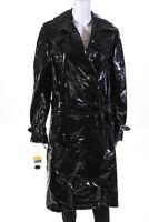 Krizia Womens Shiny Belted Double Breasted Midi Coat Black Size IT 40