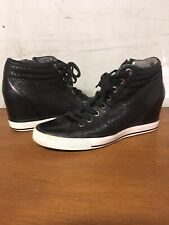 DKNY Wedge High Top Sneakers Black Leather Laces Zipper 9 Cindy Laser Perforated