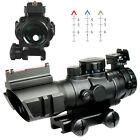 Tactical Prismatic 4x32 Rifle Scope Crosshair Fiber Optic Sight w/Mount & Rings
