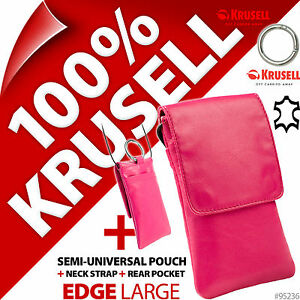 Krusell Edge GENUINE LEATHER Mobile Phone Pouch Slim Case Cover + Clip + Lanyard