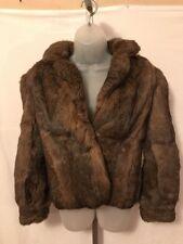 Woman's Vintage 100% Rabbit Hair Jacket Coat Size M Brown
