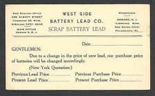 Ca 1937 PC CAMBRIDGE MA BATTERY LEAD CO BUYS SCRAP LEAD UNPOSTED