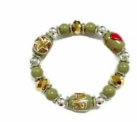Military Inspired Beaded Stretch Bracelet in Gift Box Hand Painted Patriotic