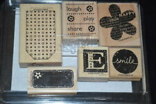 Stampin' Up! 2006 BE HAPPY 6 Piece Wood Rubber Stamp Set