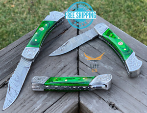 "Custom Handmade Damascus Steel Pocket Knife Folding Blade Green Wood Handle 7"""