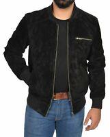 NOORA Black Suede Leather Jacket Men Bomber/Flight Size XS S M L XL Custom made