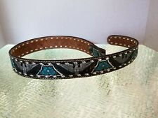 Mallory Western Whip Stitched & Embossed Leather Belt Strap Sz32 No Buckle Flaw