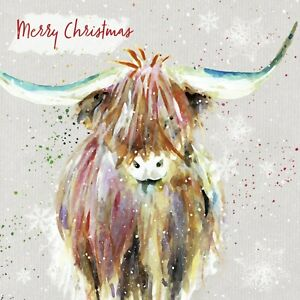 Charity Christmas Cards Pack of 10 Fluffy Highland Cow Colourful Watercolour