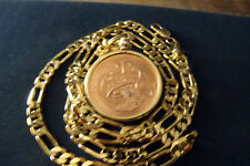 """1998 MENS IRISH LUCKY PENNY w/ HIGH GRADE 24"""" GOLD FILLED 4mm wide FIGARO Chain"""