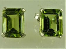 Genuine Peridot Emerald Cut Stud Earrings, Nice 8X6MM Size, 925 Sterling Silver