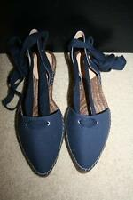 NEW J.CREW CANVAS POINTY-TOE ESPADRILLES WITH ANKLE WRAP 8 NAVY F1378 $118
