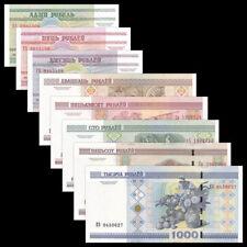 Free shipping!Belarus Full Set 1+5+10+20+50+100+500+1000 Rublei,total 8 pcs UNC