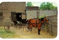 Horse & Buggy Parking Lot-Drawn Carriage-Goshen-Indiana-Vintage Postcard