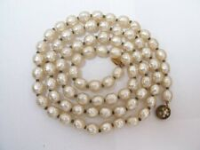 Signed Miriam Haskell Imitation Baroque Pearl Necklace Beaded Clasp .Knotted NR