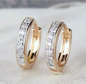 """9ct 9K Yellow & White """"Gold Filled """"Zircon's Small Oval Hoop Earrings.15mm Pouch"""