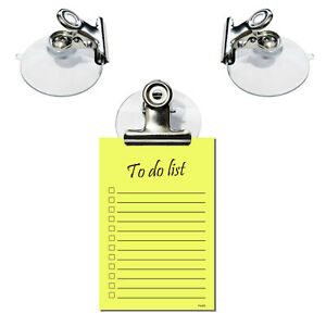Suction Clip for holding Shopping Lists Notes Kitchen Holder Sucker Work Car Van