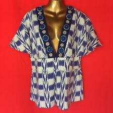Soft Surroundings Womens Blouse L 14 16 XL 18 Sexy Blue Linen Embellished 2M74