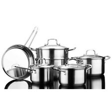 10 Pcs Stainless Steel Cookware Set 18/10 Pots Pan Saucepan Stockpot Steamer