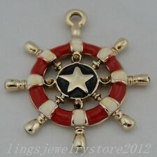 8pcs Rose Gold And Red Alloy Rudder Helm Charms Pendants Findings Crafts 50332