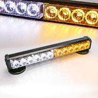 Amber/White 12 LED Roof top Emergency Warning Light Bar Magnetic Base Battery