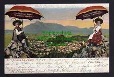 119728 AK Salzburg 1904 Panorama Salzburger Regen ... Kinder Regenschirm