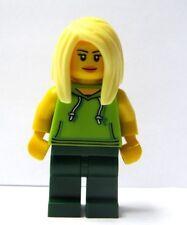 LEGO Female Girl Minifigure Figure Green Outfit Long Blonde Trendsetter  Hair
