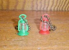 Pair Vintage Miniature Plastic Lantern Keychains - His & Hers