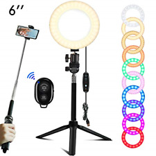 EEIEER Ring lights, 6'' RGB Ring Light with adjustable Tripod Stand, Mini LED 6