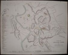 1830 PLAN MAP ANCIENT WALLED CITY OF ROME ITALY NAMED ROADS BUILDINGS WALLS ETC