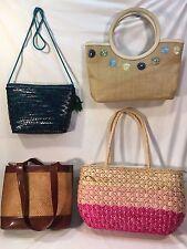 4 straw med-lrg purses/totes Etienne Aigner, Desenyo Buntal, Sun-n-Sand, Vanessa