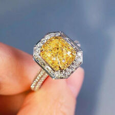 Ring Princess Cut Citrine Size 7 Fashion Women 925 Silver Wedding Engagement