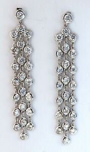 2.60ct Natural Round Diamonds Cascading Station Yard Dangle Earrings 14kt