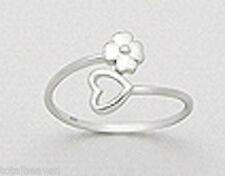 10mm Wide TINY Solid Sterling Silver Flower and Heart Ring size 9 ADORABLE 1.3g