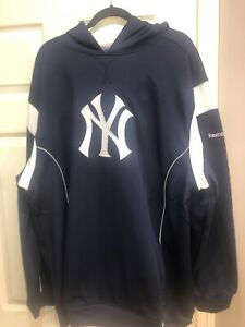 NWT Navy Blue Reebok MLB NY Yankees Pullover Hooded Sweatshirt Size 2XL