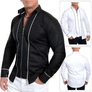 Men's Casual Shirt Silver Zipper Collared no buttons Cotton White Black Slim Fit