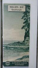 1956 Willapa Bay road   map AAA  oil gas Washington Oregon Tillamook Hoquium